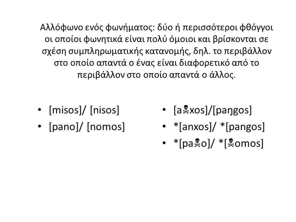 [misos]/ [nisos] [pano]/ [nomos] [axos]/[paŋgos] *[anxos]/ *[pangos]